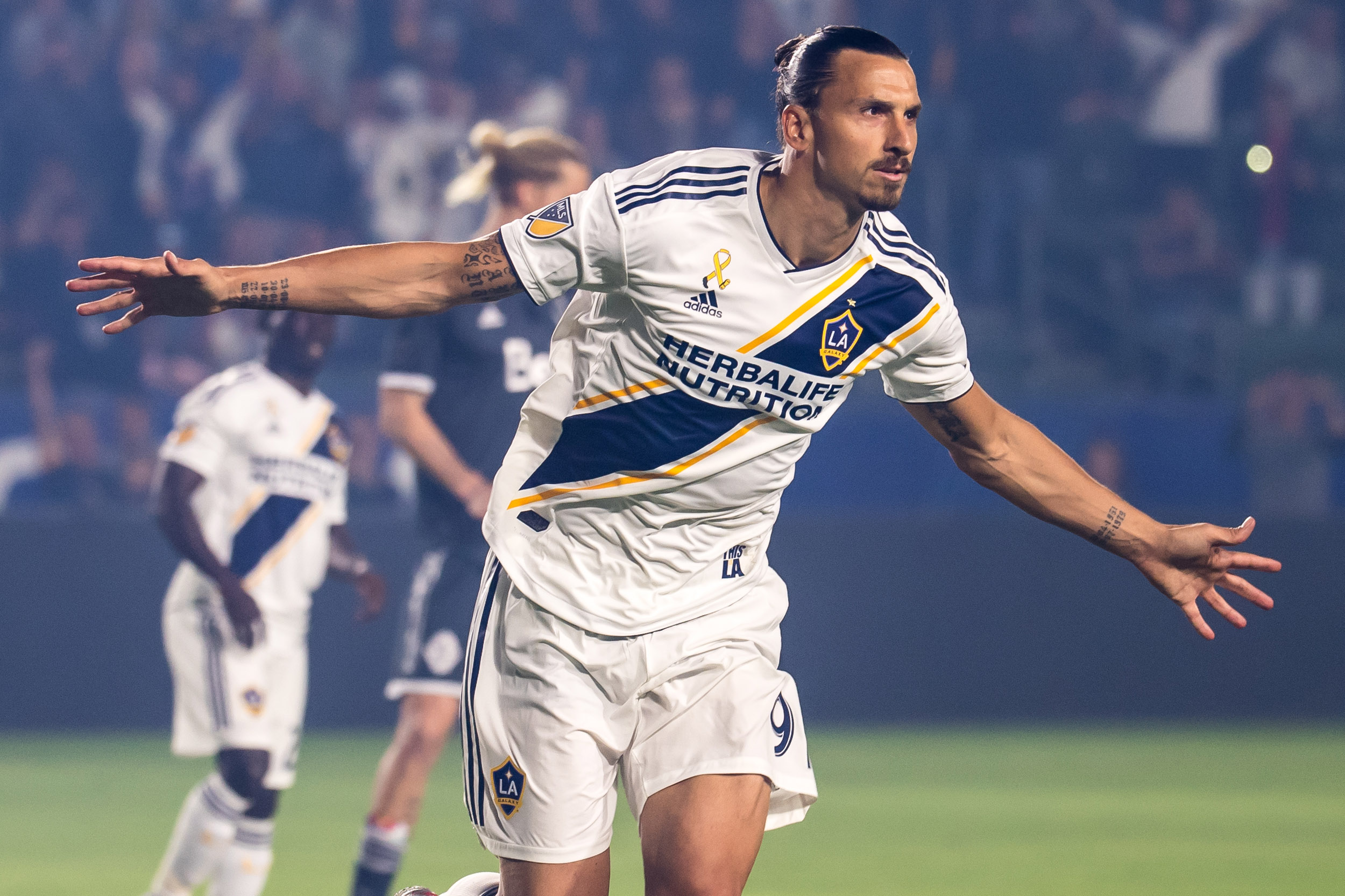 Zlatan Ibrahimovic #9 of Los Angeles Galaxy celebrates his penalty kick goal during the Los Angeles Galaxy's MLS match against Vancouver Whitecaps at the StubHub Center on September 29, 2018 in Carson, California. The Los Angeles Galaxy won the match 3-0.