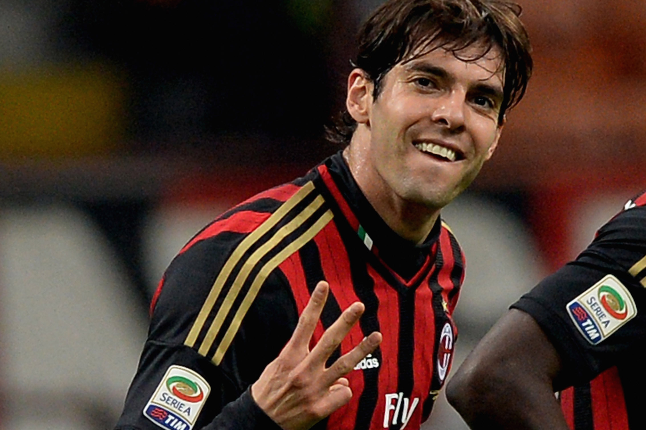 Kaka of AC Milan celebrates scoring the second goal during the Serie A match between AC Milan and AC Chievo Verona at San Siro Stadium on March 29, 2014 in Milan, Italy.