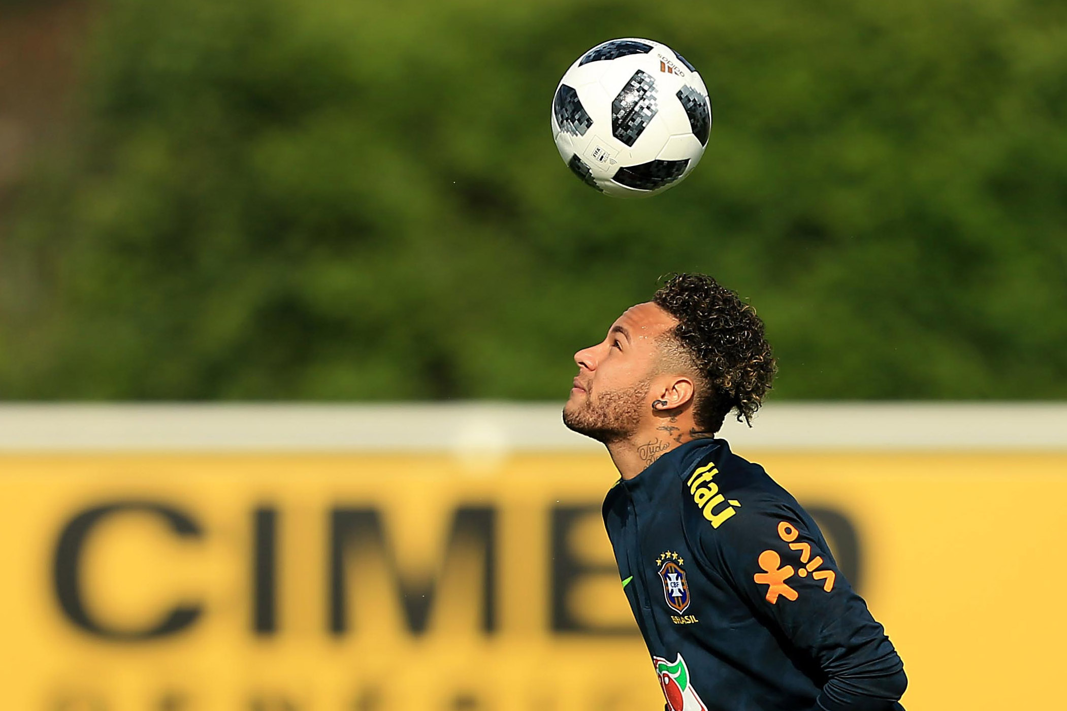 Neymar Jr of Brazil during a Brazil Training Session at Tottenham Hotspur Training Centre on May 28, 2018 in Enfield, England.