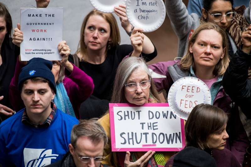 Federal workers and contractors, along with their unions, staged a protest calling for and end to the government shutdown and back pay in the Hart Senate Office Building on Jan. 23, 2019