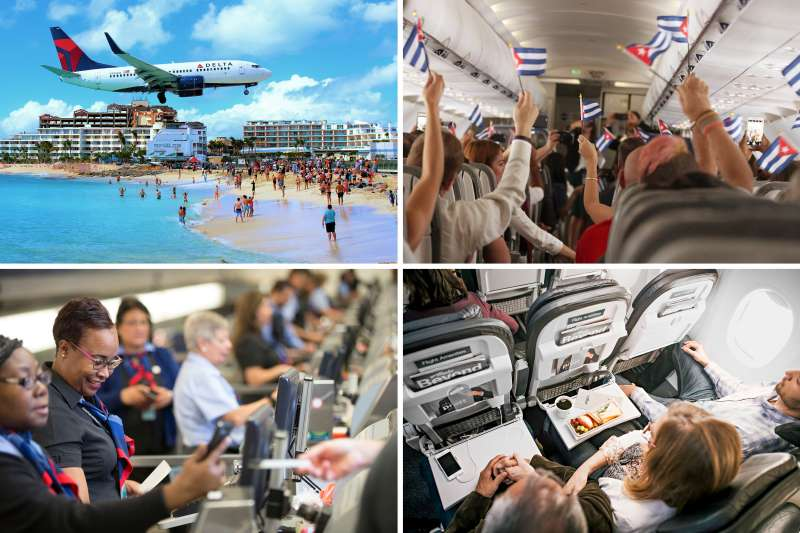 (Clockwise from top left) Delta, JetBlue, Alaska Airline; American Airlines