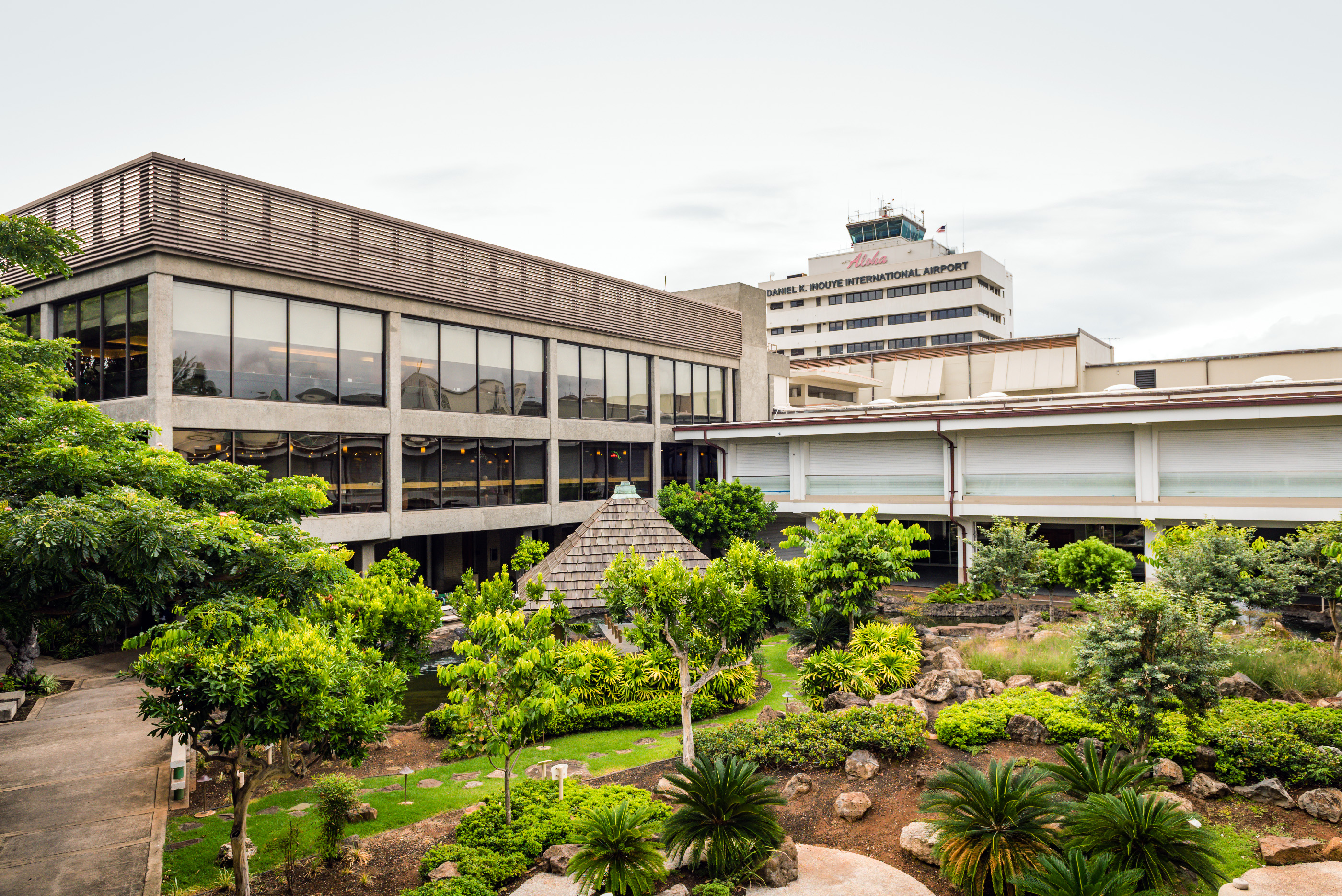Cultural gardens at Daniel K. Inouye International Airport show Asian influence on Hawaiian culture, August 26, 2018.
