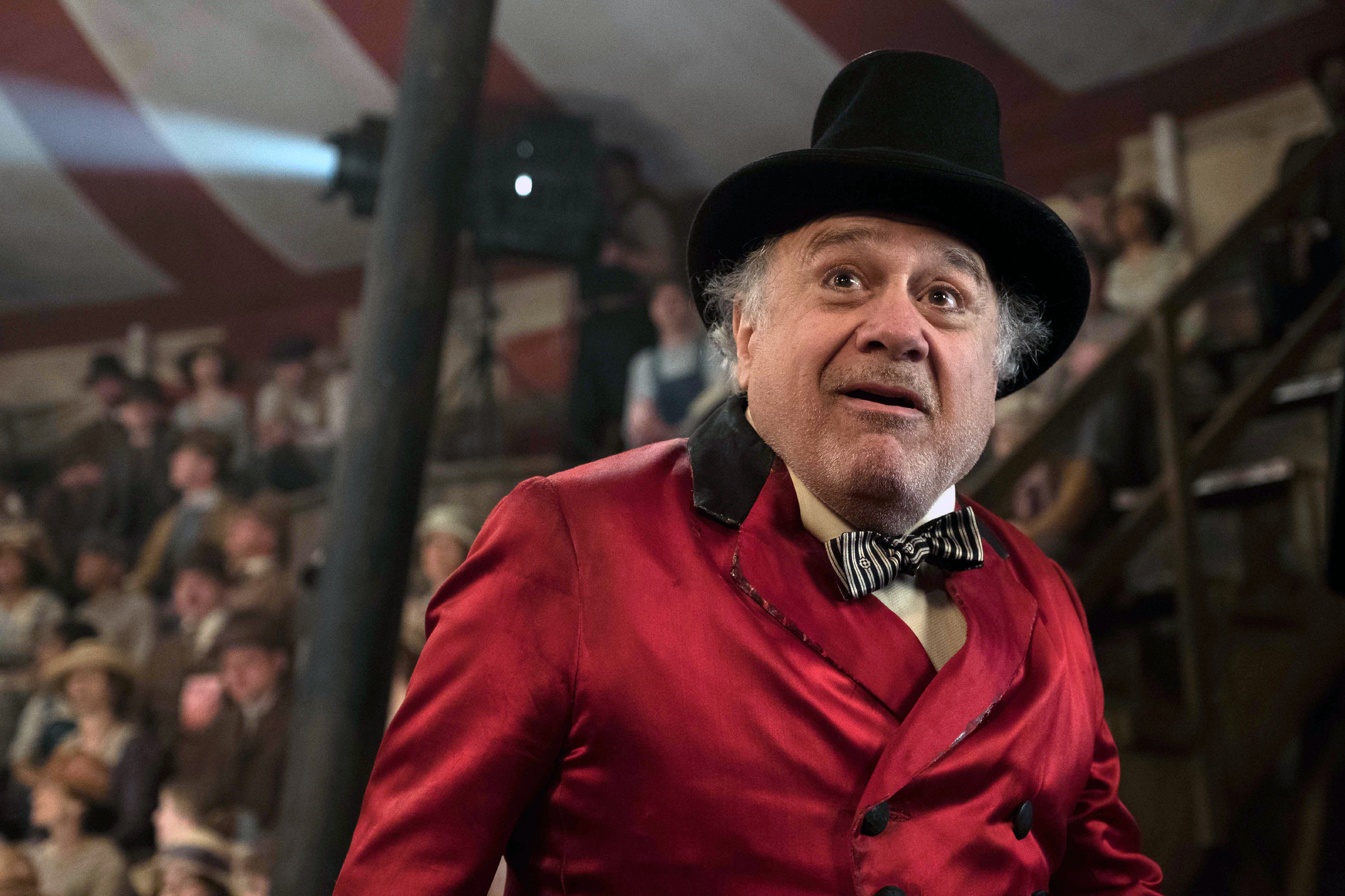 """In Tim Burton's all-new, live-action reimagining of """"Dumbo,"""" struggling circus owner Max Medici (Danny DeVito) is disappointed to learn that a newborn elephant has enormous ears. But when Medici realizes that the elephant can fly, the circus' return to prosperity suddenly becomes a real possibility."""