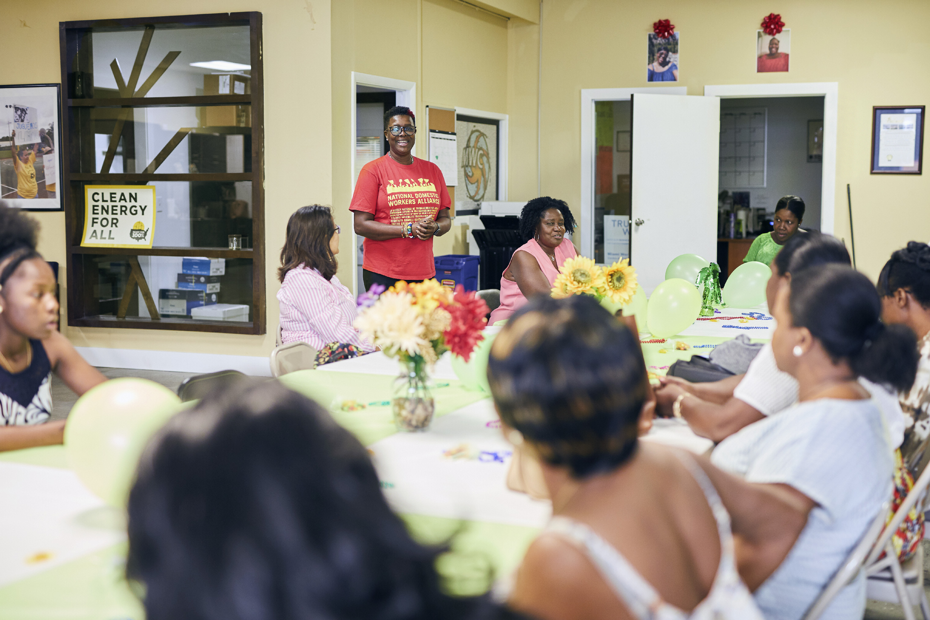 June Barrett speaks at the We Dream in Black domestic workers meeting at Miami Workers Center, March 29, 2019.