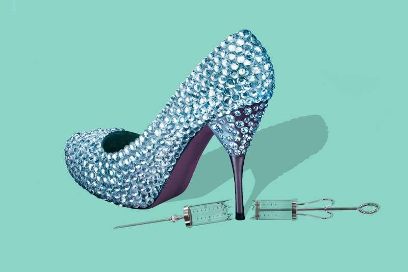Sparkling Luxury Shoe stepping on syringe