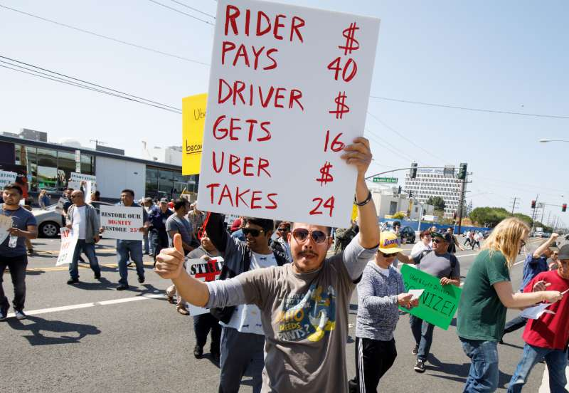 Uber drivers strike in Los Angeles, Redondo Beach, USA - 26 Mar 2019