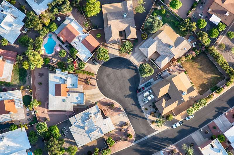 Upper Middle Class Neighborhood Aerial