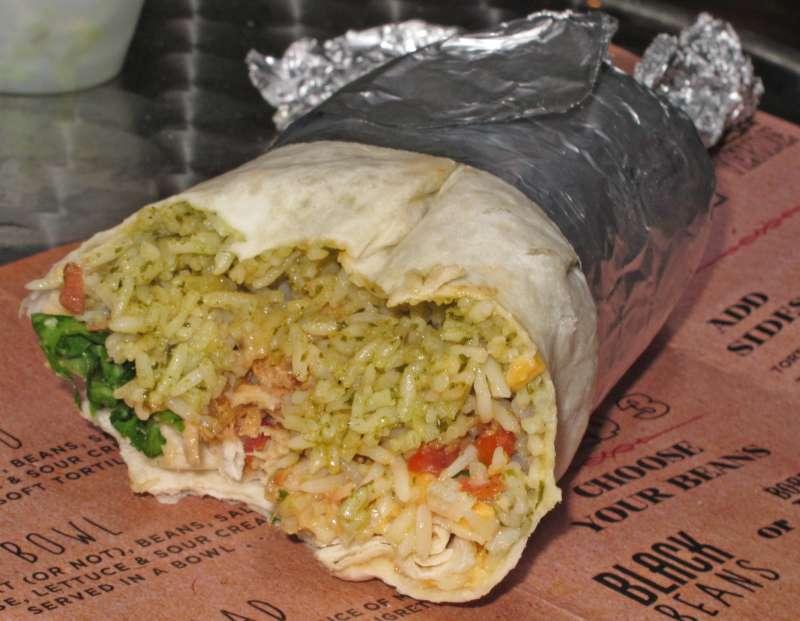 burrito with smokey chipotle chicken