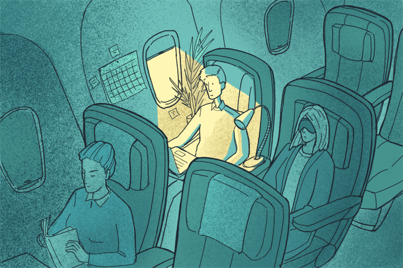 drawing-of-people-on-airplane-with-man-looking-out-sunlit-window