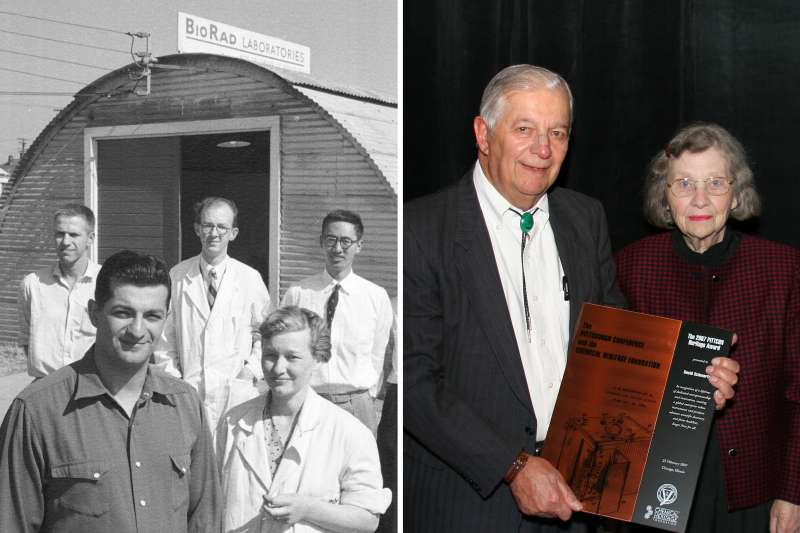 (left) American researchers David and Alice Schwartz (fore) pose with their staff outside the quonset hut that houses their company, Bio-Rad Laboratories, Berkeley, California, July 1, 1955.; (right) Chemists David Schwartz and Alice Schwartz and Norman Schwartz at the Pittsburgh Conference on Analytical Chemistry and Applied Spectroscopy (Pittcon) and the Chemical Heritage Foundation, February 25, 2007.