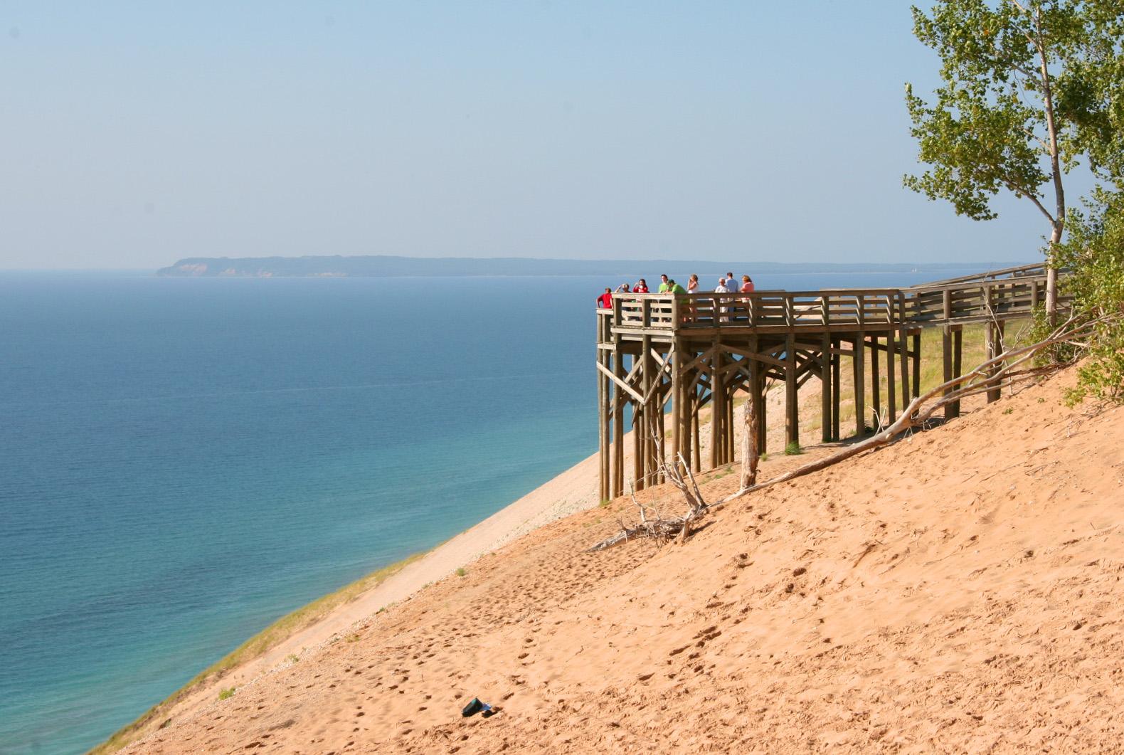 Visitors on #9 Lake Michigan Overlook Observation Deck or Platform