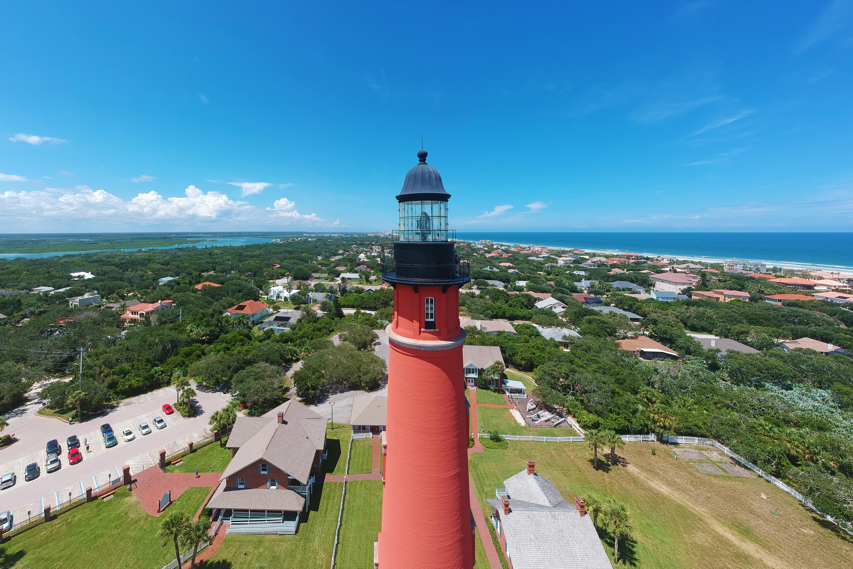 Panoramic aerial view of the historic Ponce de Leon Inlet Light lighthouse, in Ponce Inlet, Florida,