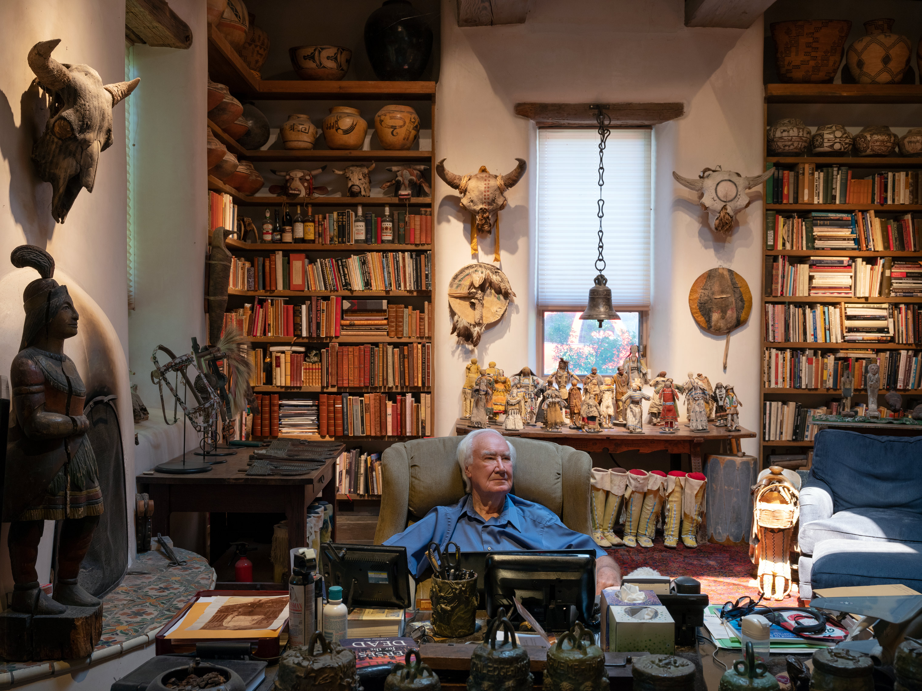 Forrest Fenn in his library, Santa Fe, NM, May 27, 2019.