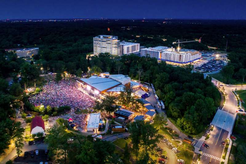 birdseye view of crowded outdoor concert in Columbia, Maryland