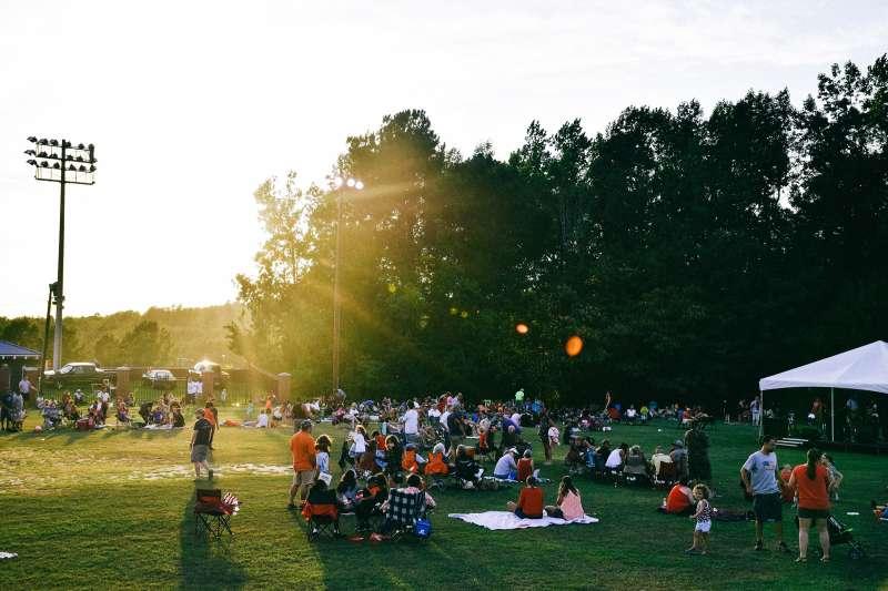 community gathered at park in Auburn, Alabama