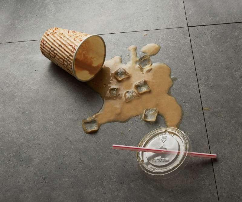 Spilt iced coffee on floor