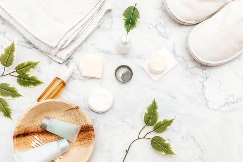 Organic spa cosmetic on marble background