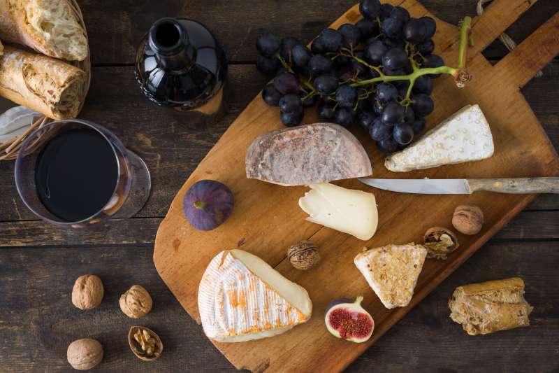 Cheese platter with camembert, walnut cheese, gorgonzola and taleggio