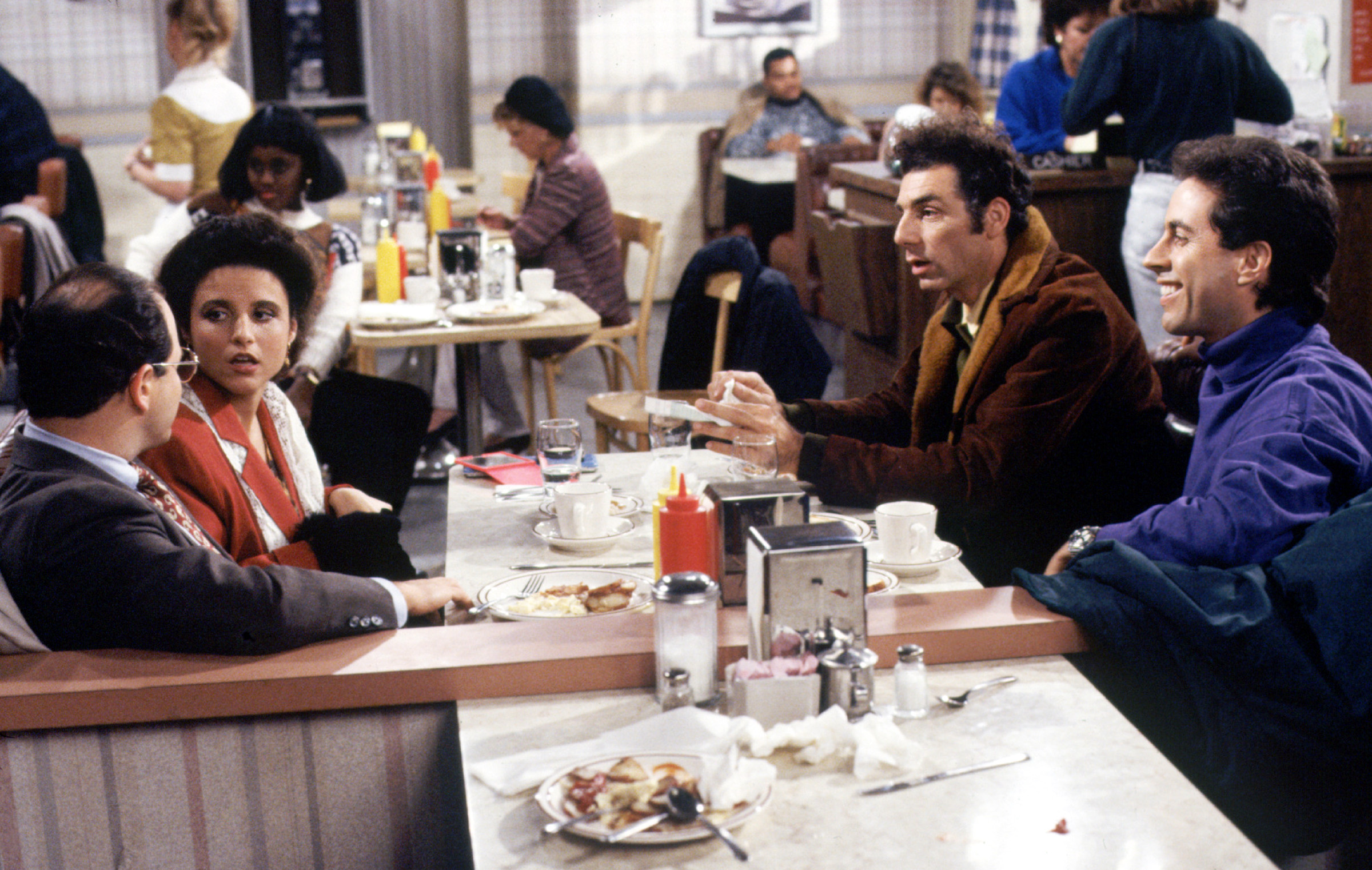 SEINFELD, Jason Alexander, Julia Louis-Dreyfus, Michael Richards, Jerry Seinfeld. Ep. 'The Subway' a
