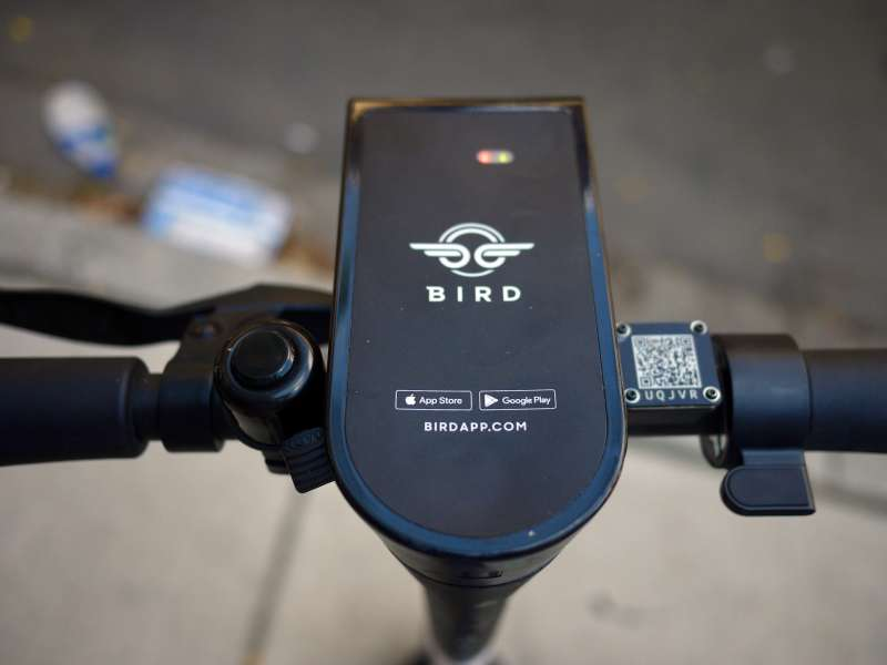 Handlebars Of A Bird Electric Dockless Scooter