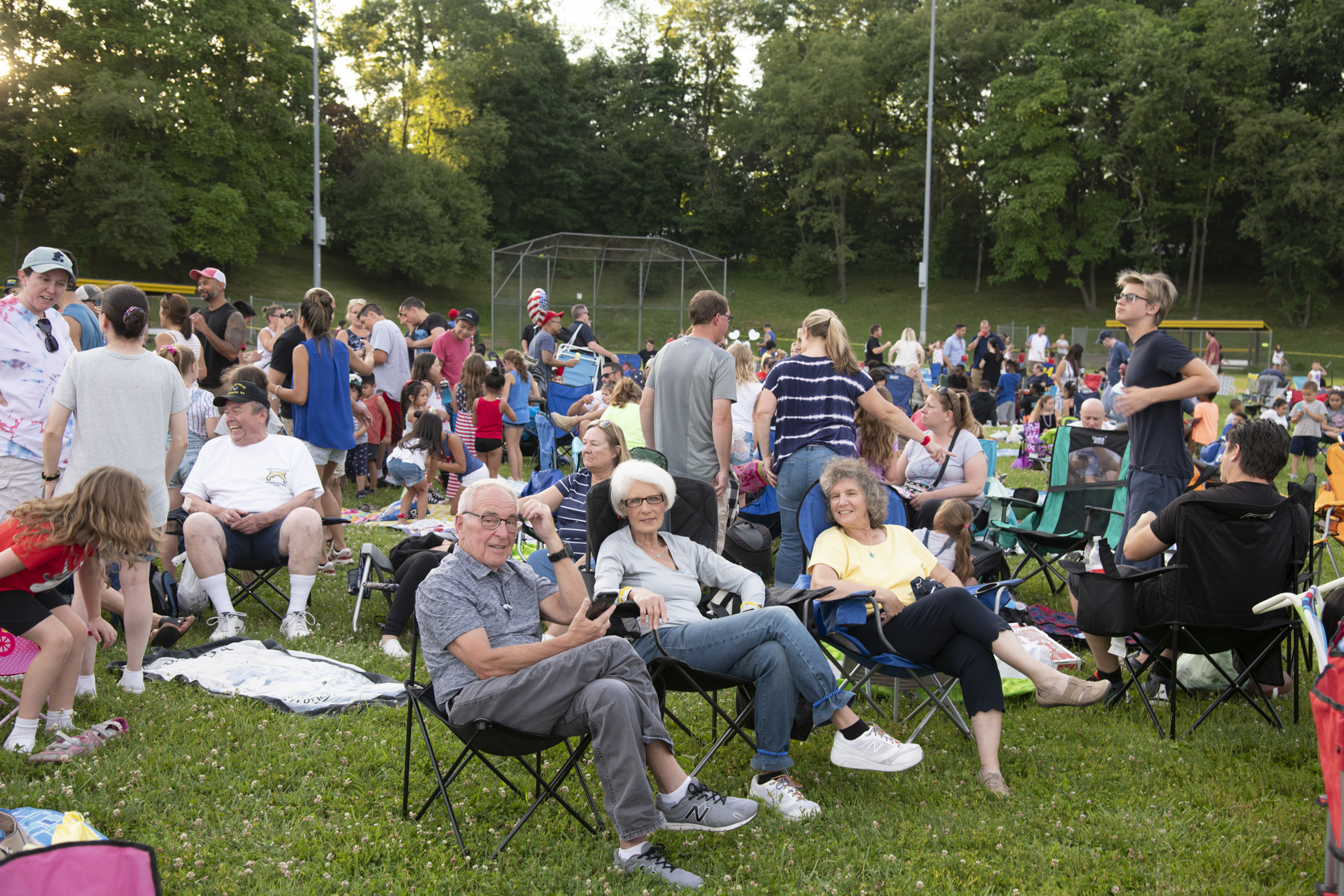 Residents of Clarkstown await a fireworks display.