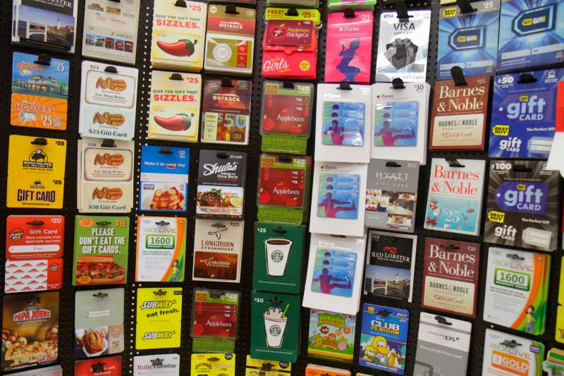 Gift cards for sale in Walgreens at Miami Beach.