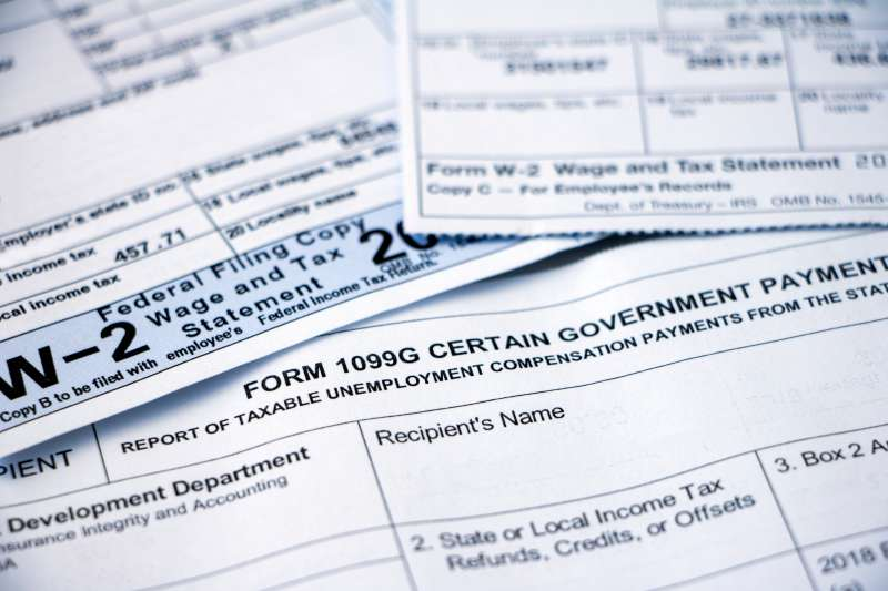 Closeup of tax forms, 1099G and W-2
