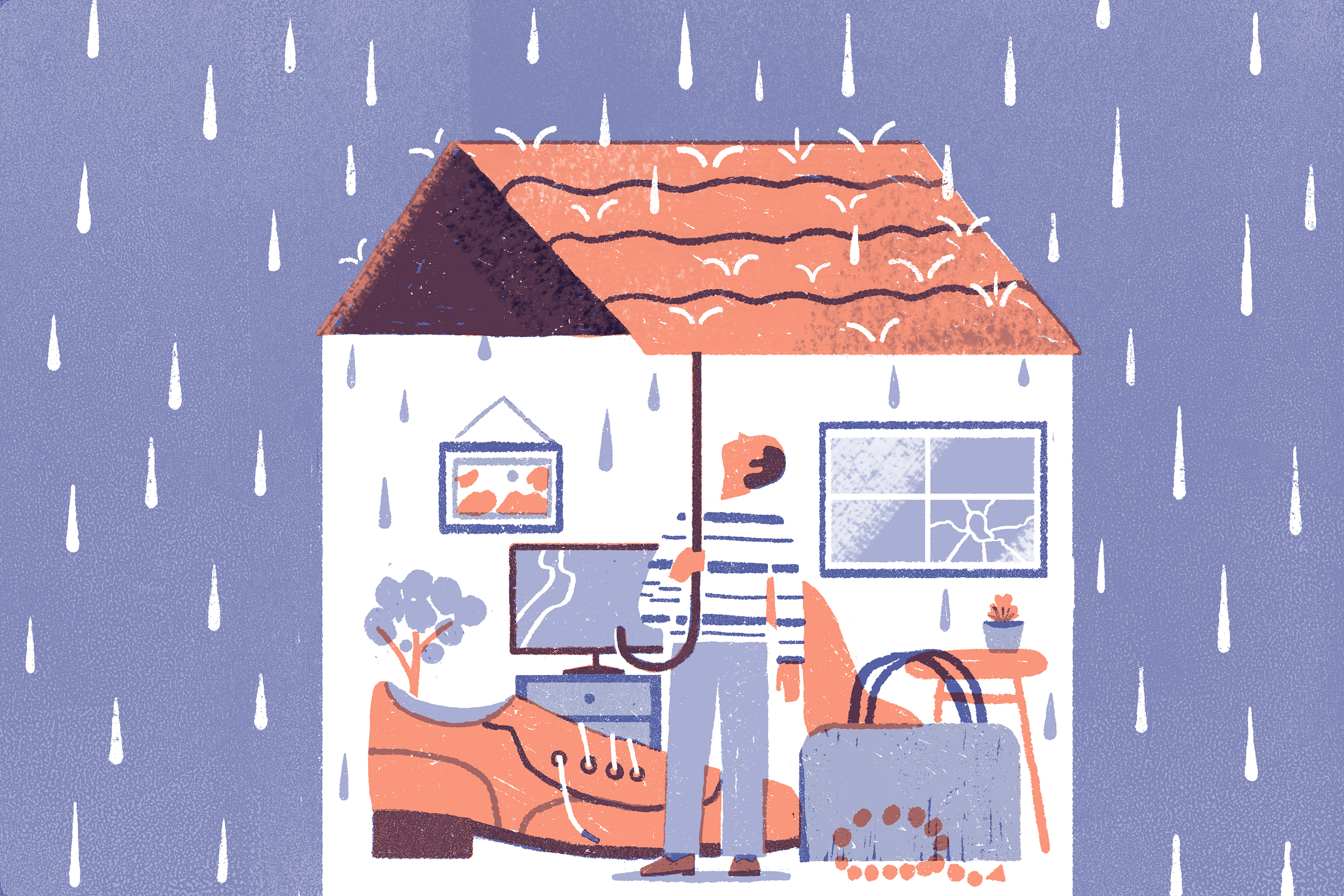 A man stands in the middle of rain, surrounded by various house items. He holds an umbrella in the shape of a house roof.