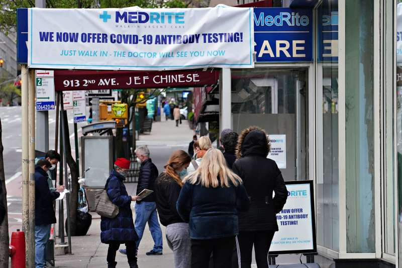 People line up outside MedRite Urgent Care.