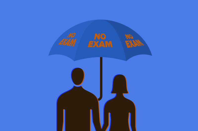 silhouettes of a man and a woman sheltering under an umbrella with no exam written on it