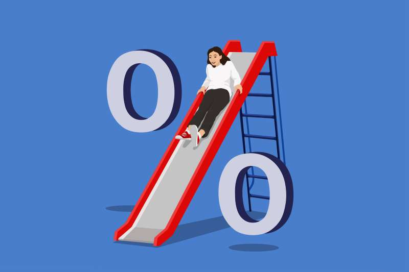 girl coming down a swing with two zeros on the side representing a percent