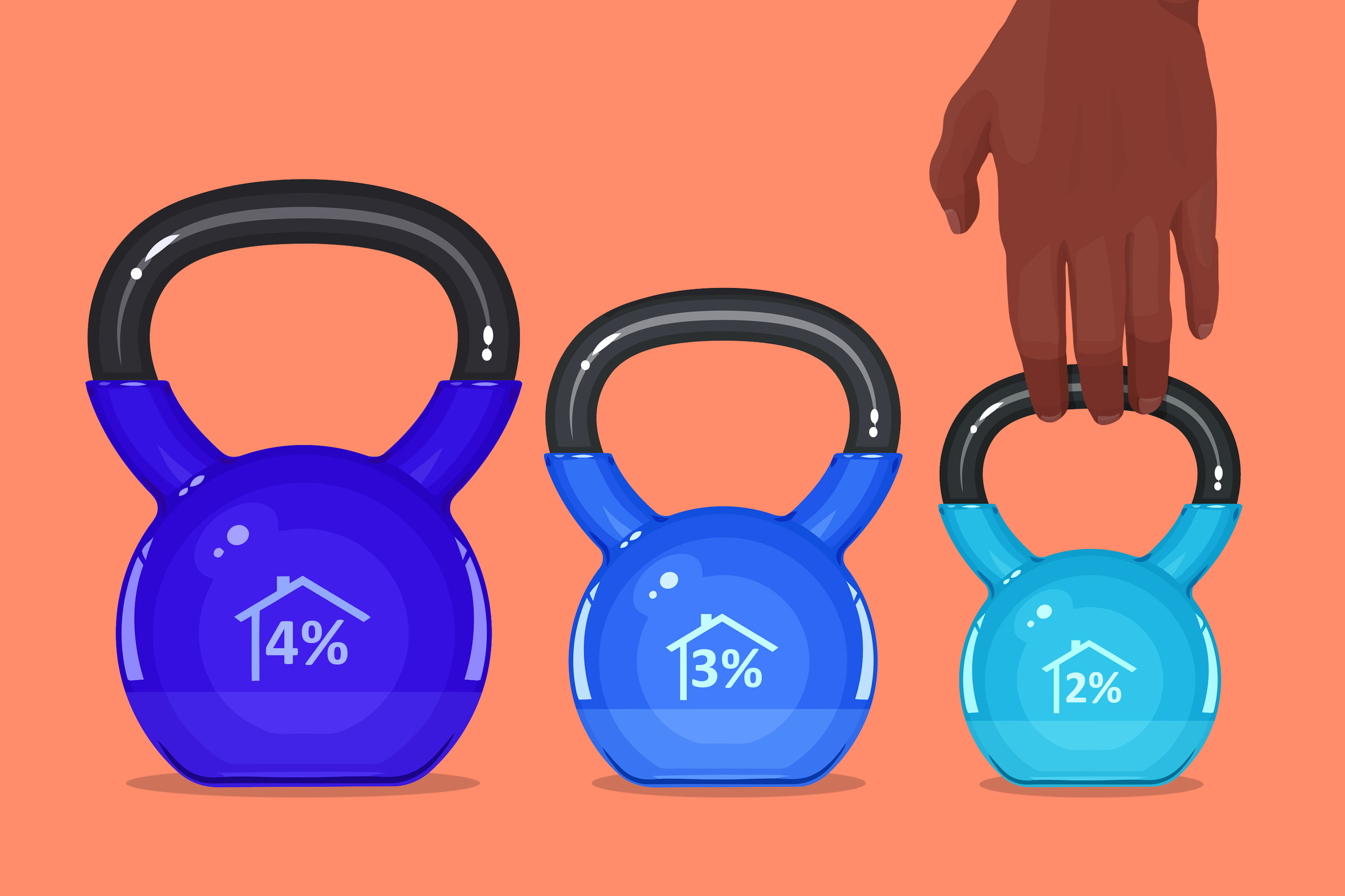 three blue kettlebells in a row with percentages written on them in descending order and size