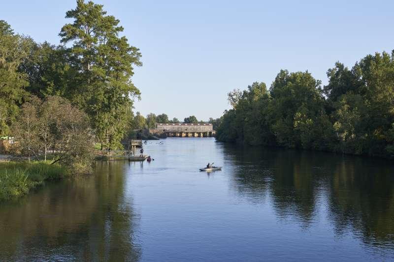 Kayaking in Savannah Rapids Park near Evans, Georgia