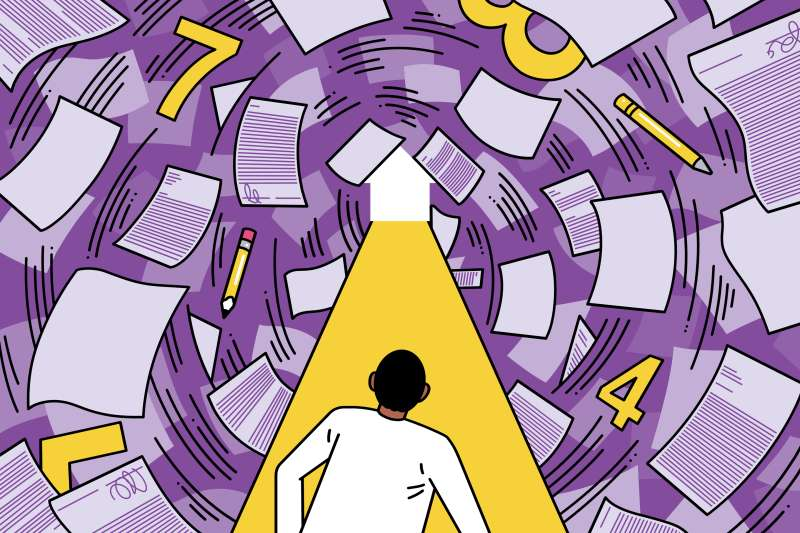 man looks down a path towards a white light in the shape of a house, through a tunnel of paperwork and numbers