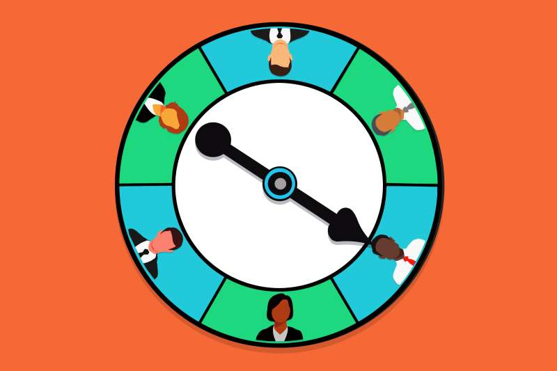 Spinner wheel with six silhouettes of financial advisors in business attire.