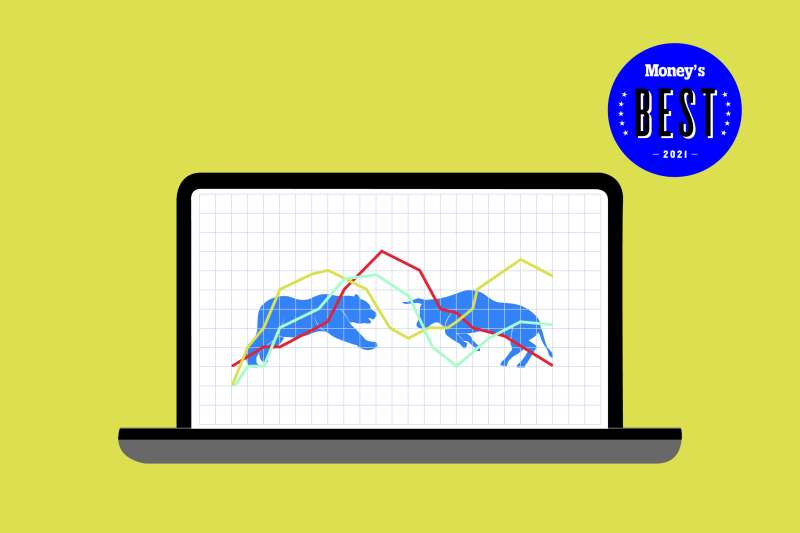 a bull and bear face off on a laptop screen over a background of rising and falling stocks
