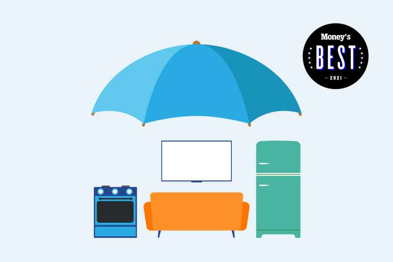 The image shows an umbrella on top of several household items