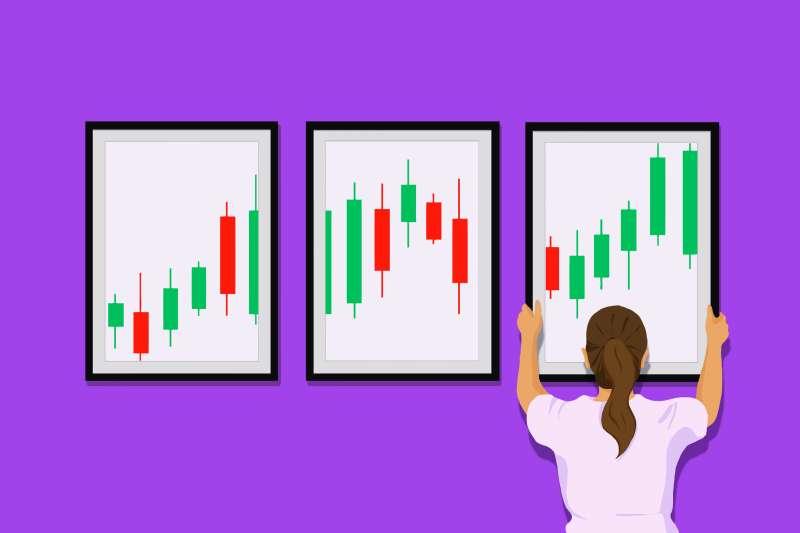 Trade Stock, A girl holding a stock trading frame