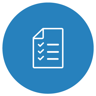 White checklist on blue background