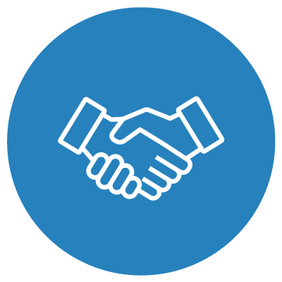 White silhouette of a handshake on blue background