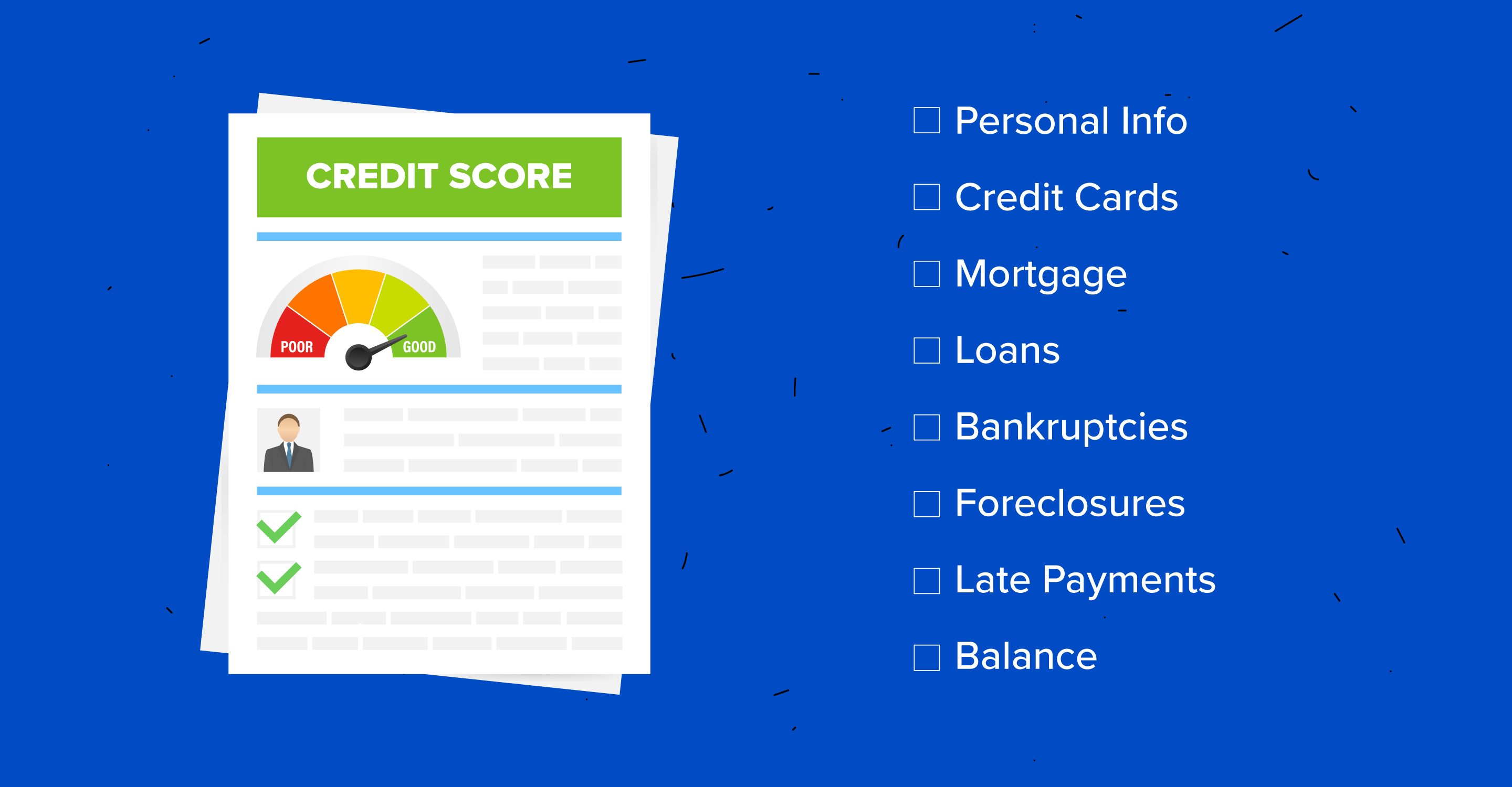 Graphic illustration of credit report with unnumbered list of information typically detailed in credit reports.