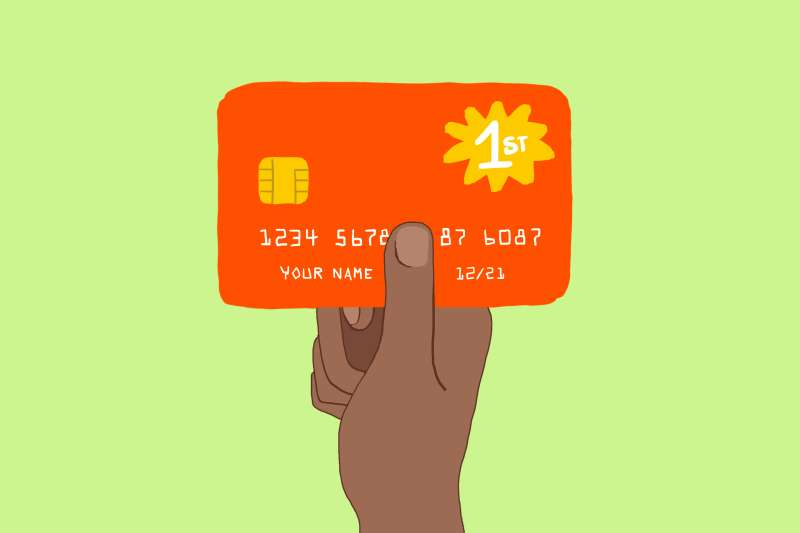 Drawing of hand holding a credit card