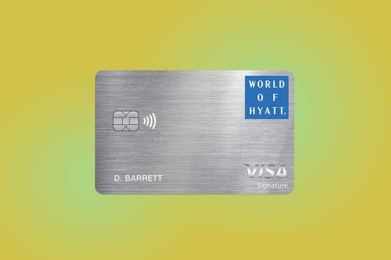 World of Hyatt Visa Card on a color background