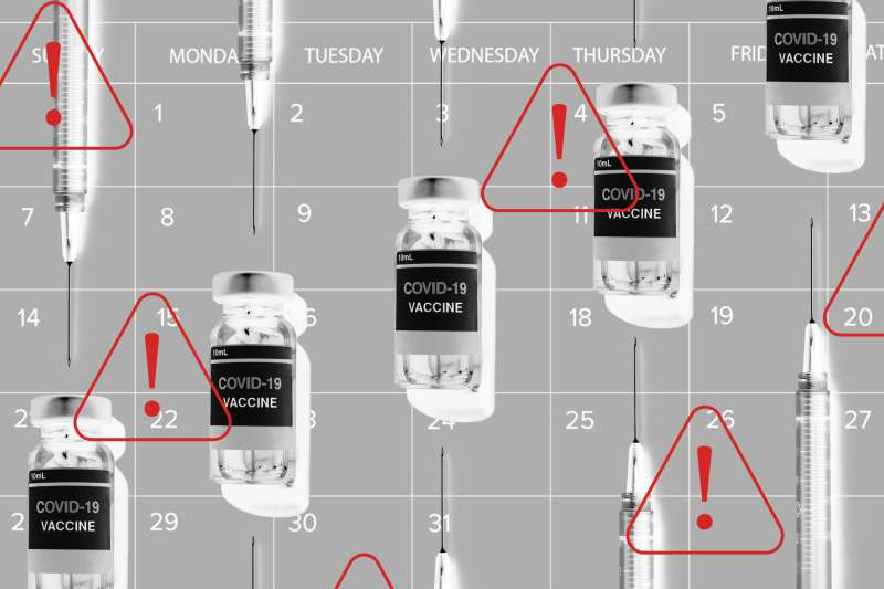 Multiple vials of Covid-19 vaccine and syringes on a calendar background