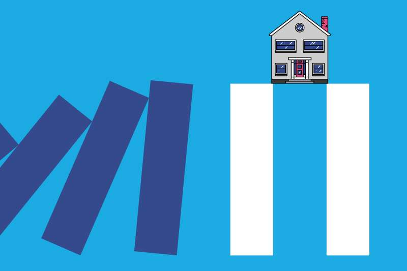 A house sitting on top of the white pause sign columns, while other purple columns are about to fall into the white column.