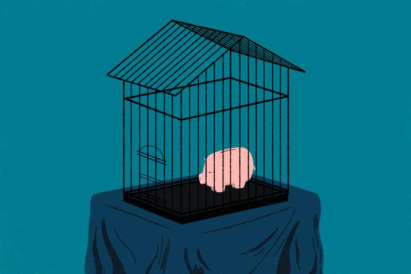 Retirmement Savings for a Down Payment, piggy bank in a cage