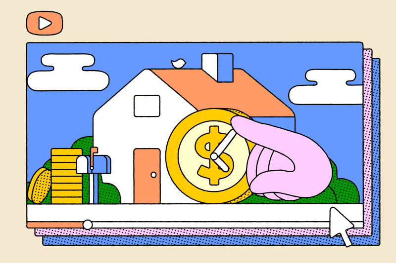 YouTube's Favorite Mortgage Strategy Has Millions of Fans. Illustration of window screens of a hand touching a coin on a house.