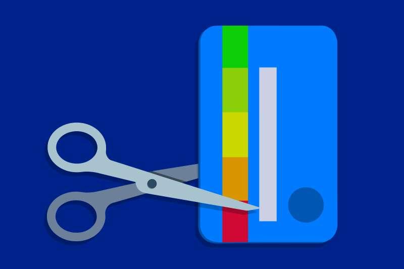 cutting credit card strip with credit bar