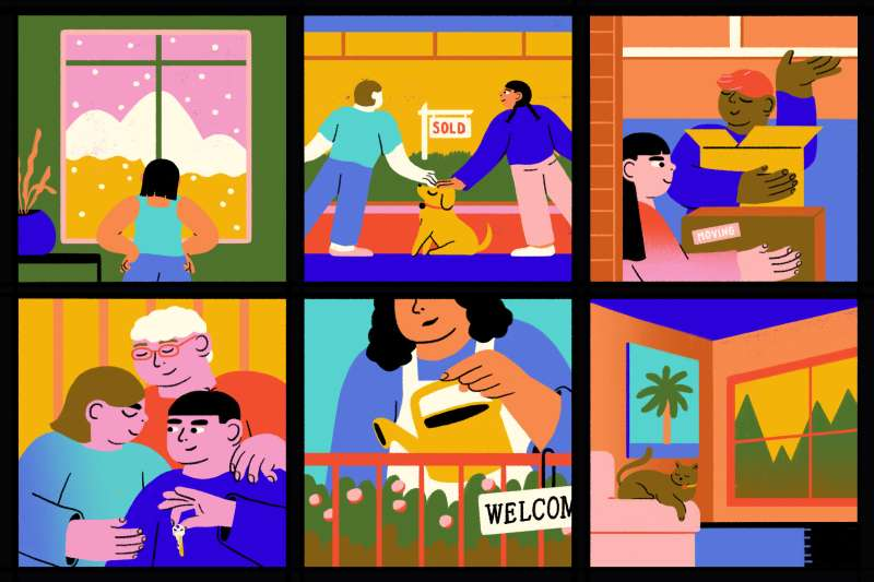 Six scenes of young people buying houses.