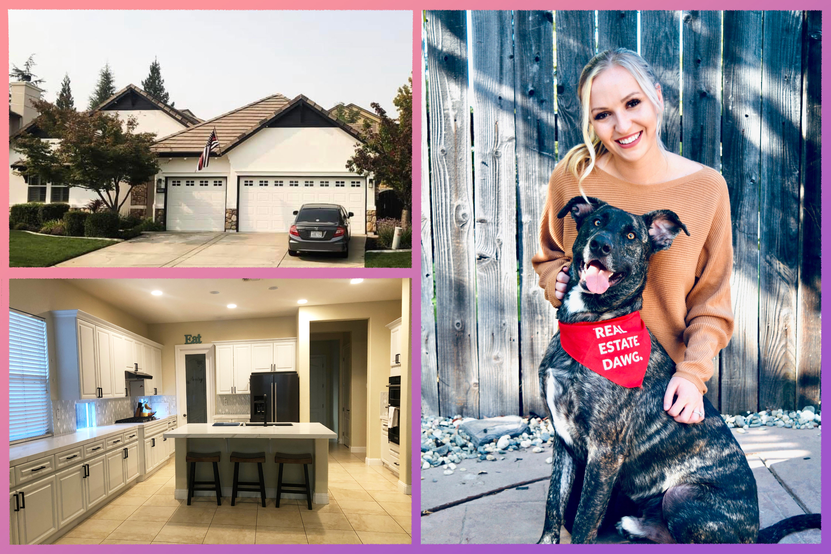 Photo of Julia Beals and her dog, interior and exterior of her home.